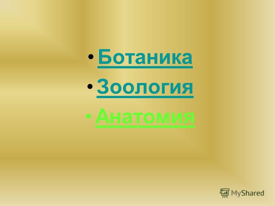 Ботаника Зоология Анатомия