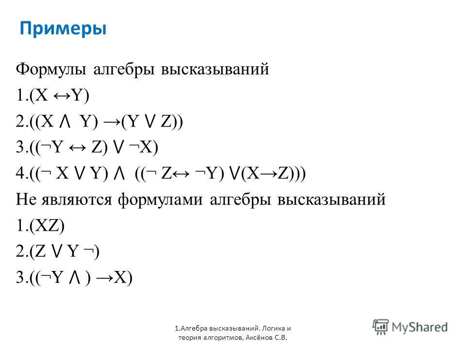 Примеры 1. Алгебра высказываний. Логика и теория алгоритмов, Аксёнов С.В. Формулы алгебры высказываний 1.(X Y) 2.((X Y) (Y Z)) 3.((¬Y Z) ¬X) 4.((¬ X Y) ((¬ Z ¬Y) (XZ))) Не являются формулами алгебры высказываний 1.(XZ) 2.(Z Y ¬) 3.((¬Y ) X)