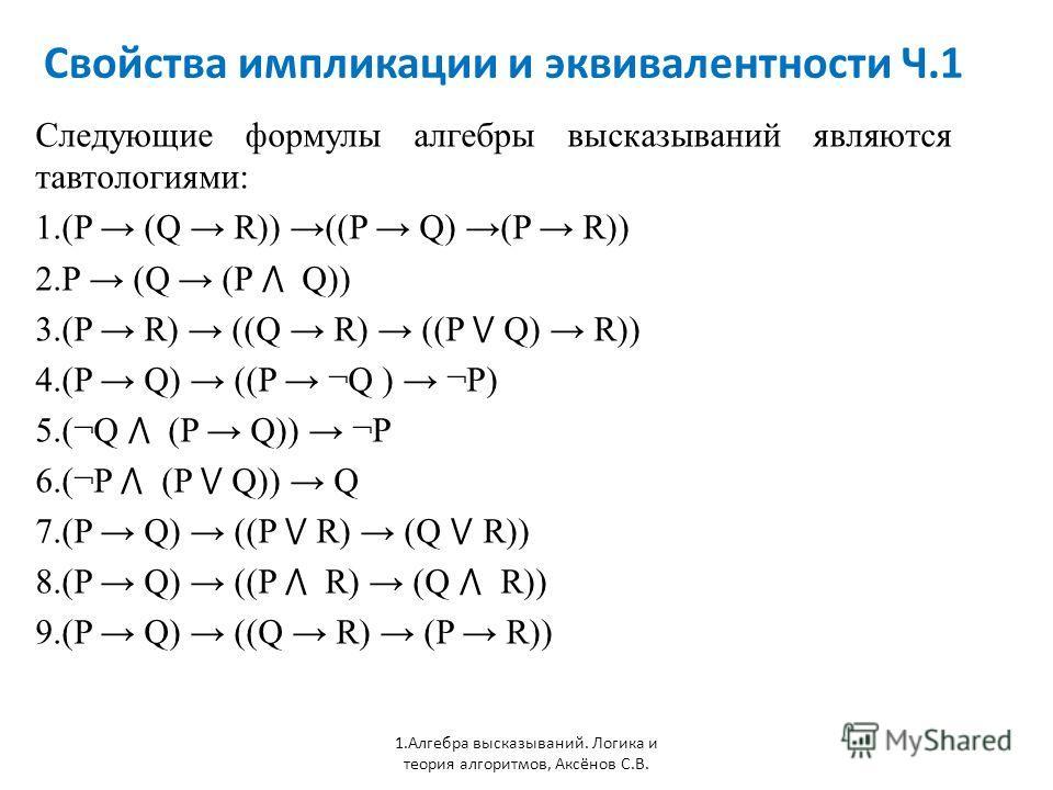 Свойства импликации и эквивалентности Ч.1 1. Алгебра высказываний. Логика и теория алгоритмов, Аксёнов С.В. Следующие формулы алгебры высказываний являются тавтологиями: 1.(P (Q R)) ((P Q) (P R)) 2. P (Q (P Q)) 3.(P R) ((Q R) ((P Q) R)) 4.(P Q) ((P ¬