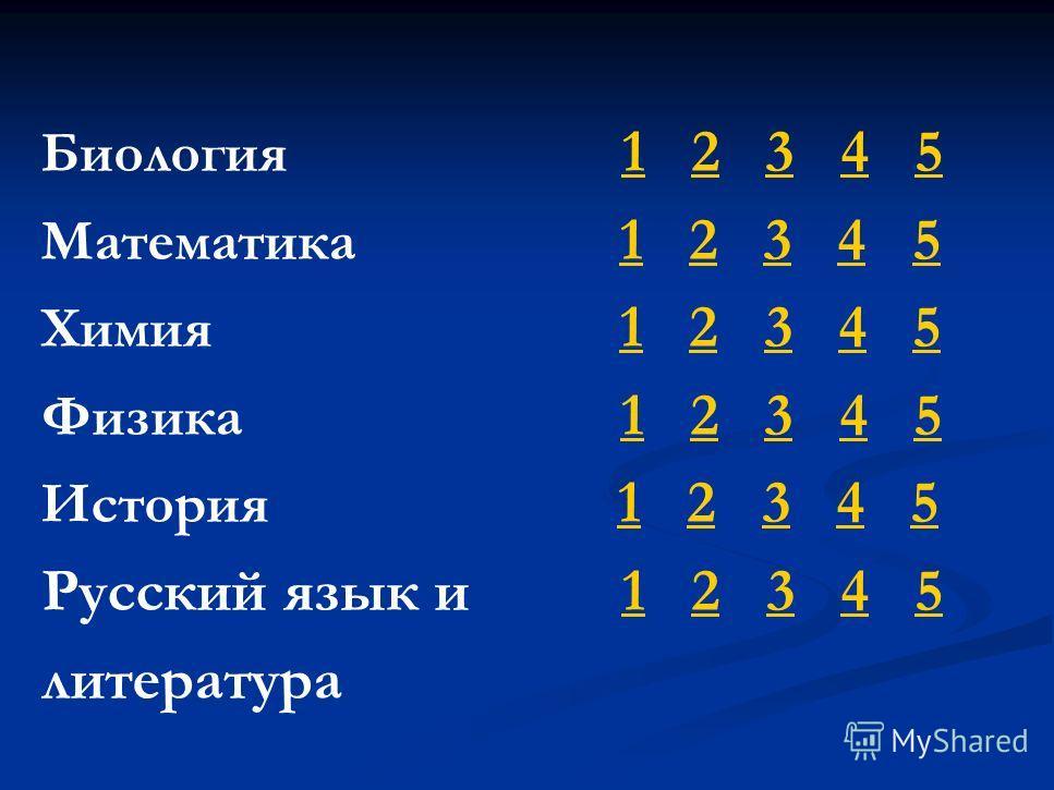 Биология 1 2 3 4 5 12345 Математика 1 2 3 4 5 12345 Химия 1 2 3 4 5 12345 Физика 1 2 3 4 5 12345 История 1 2 3 4 5 12345 Русский язык и 1 2 3 4 512345 литература