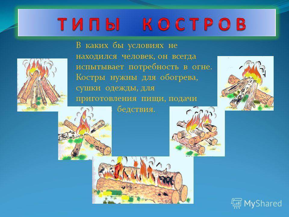 В каких бы условиях не находился человек, он всегда испытывает потребность в огне. Костры нужны для обогрева, сушки одежды, для приготовления пищи, подачи сигналов бедствия.