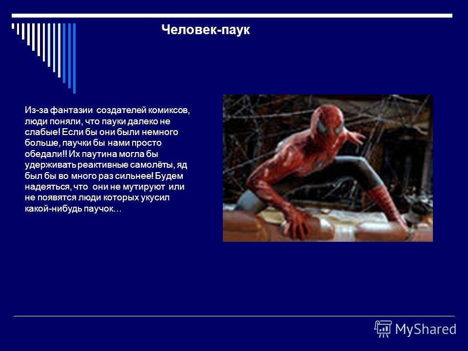 Человек-паук Из-за фантазии создателей комиксов, люди поняли, что пауки далеко не слабые! Если бы они были немного больше, паучки бы нами просто обедали!! Их паутина могла бы удерживать реактивные самолёты, яд был бы во много раз сильнее! Будем надея