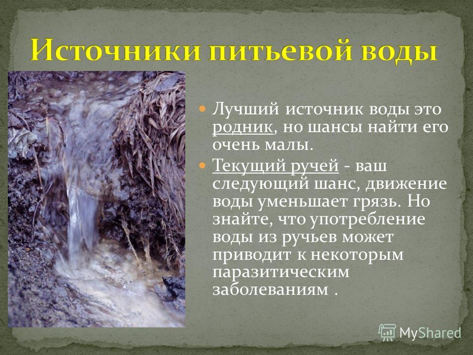Лучший источник воды это родник, но шансы найти его очень малы. Текущий ручей - ваш следующий шанс, движение воды уменьшает грязь. Но знайте, что употребление воды из ручьев может приводит к некоторым паразитическим заболеваниям.