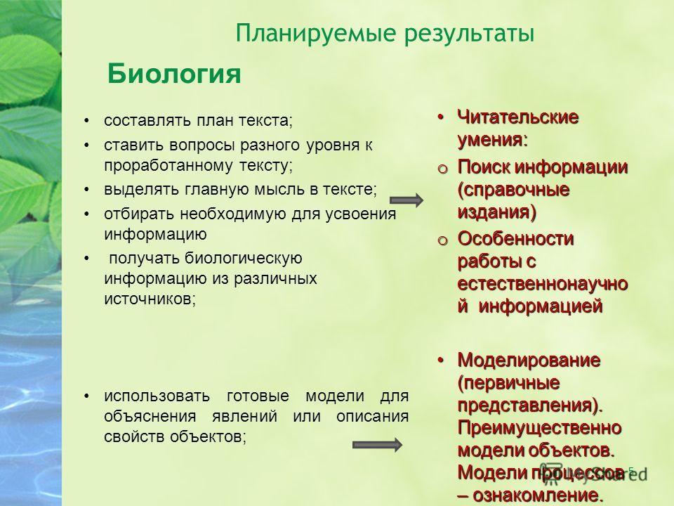 5 Планируемые результаты Биология составлять план текста; ставить вопросы разного уровня к проработанному тексту; выделять главную мысль в тексте; отбирать необходимую для усвоения информацию получать биологическую информацию из различных источников;