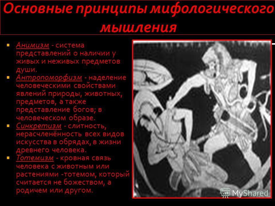 Анимизм - система представлений о наличии у живых и неживых предметов души. Анимизм - система представлений о наличии у живых и неживых предметов души. Антропоморфизм - наделение человеческими свойствами явлений природы, животных, предметов, а также