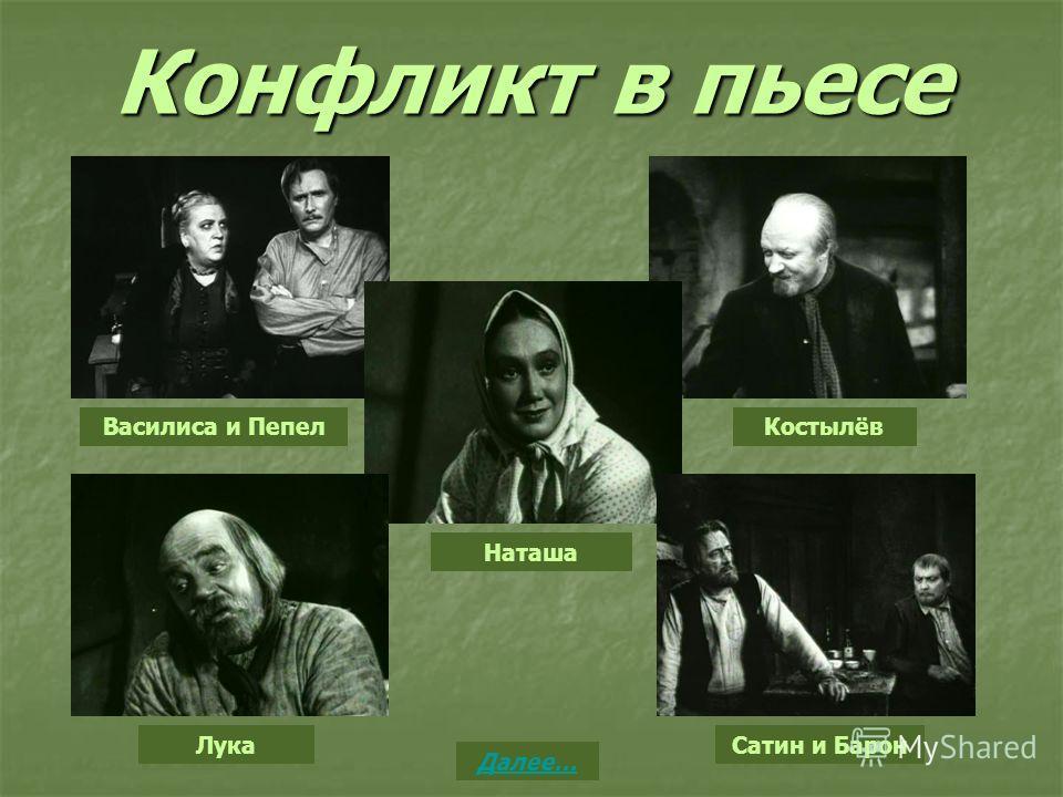 Конфликт в пьесе Василиса и Пепел Наташа Костылёв Лука Сатин и Барон Далее…