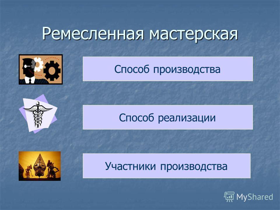 Ремесленная мастерская Способ производства Способ реализации Участники производства