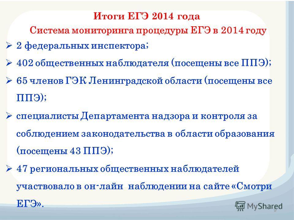 Итоги ЕГЭ 2014 года 9 Система мониторинга процедуры ЕГЭ в 2014 году 2 федеральных инспектора; 402 общественных наблюдателя (посещены все ППЭ); 65 членов ГЭК Ленинградской области (посещены все ППЭ); специалисты Департамента надзора и контроля за собл