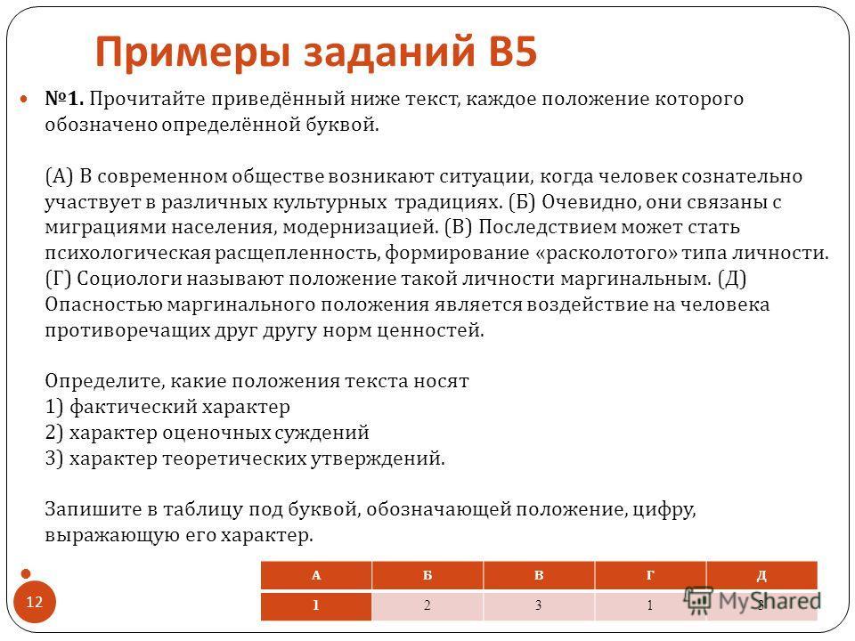 Примеры заданий В 5 1. Прочитайте приведённый ниже текст, каждое положение которого обозначено определённой буквой. ( А ) В современном обществе возникают ситуации, когда человек сознательно участвует в различных культурных традициях. ( Б ) Очевидно,