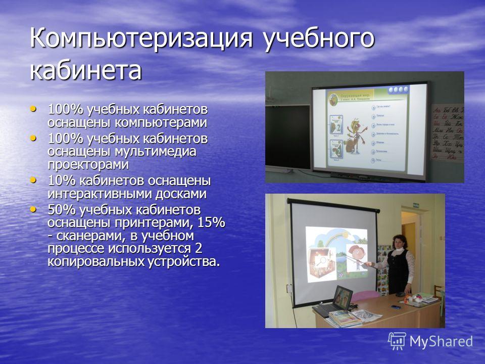 Компьютеризация учебного кабинета 100% учебных кабинетов оснащены компьютерами 100% учебных кабинетов оснащены компьютерами 100% учебных кабинетов оснащены мультимедиа проекторами 100% учебных кабинетов оснащены мультимедиа проекторами 10% кабинетов