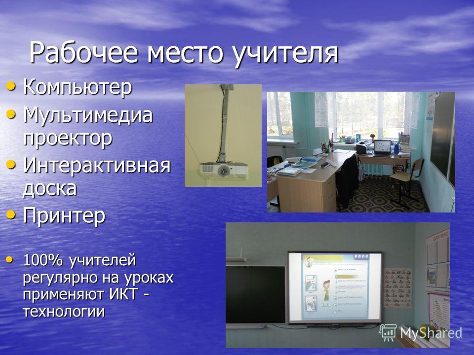 Рабочее место учителя Компьютер Компьютер Мультимедиа проектор Мультимедиа проектор Интерактивная доска Интерактивная доска Принтер Принтер 100% учителей регулярно на уроках применяют ИКТ - технологии 100% учителей регулярно на уроках применяют ИКТ -