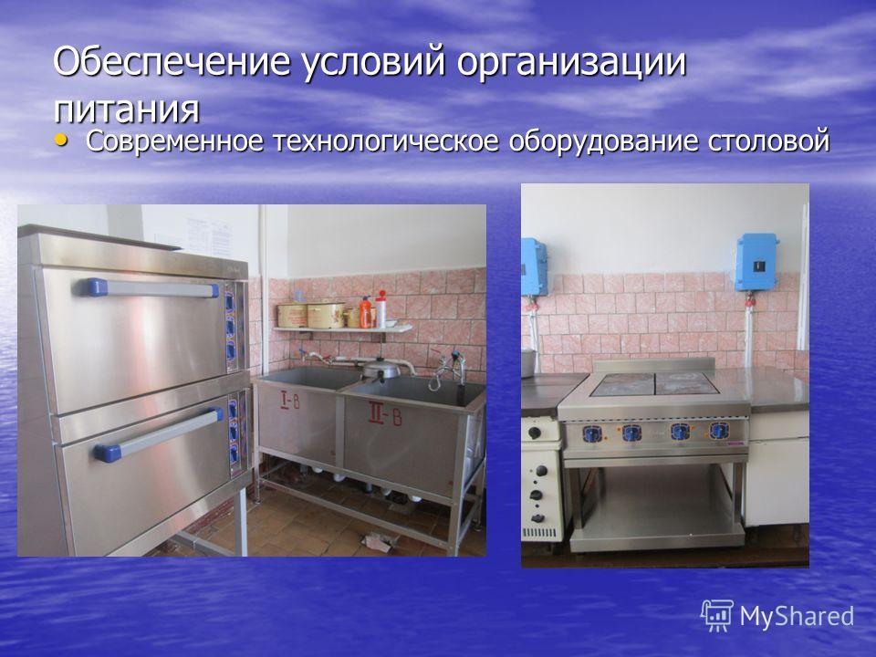 Обеспечение условий организации питания Современное технологическое оборудование столовой Современное технологическое оборудование столовой