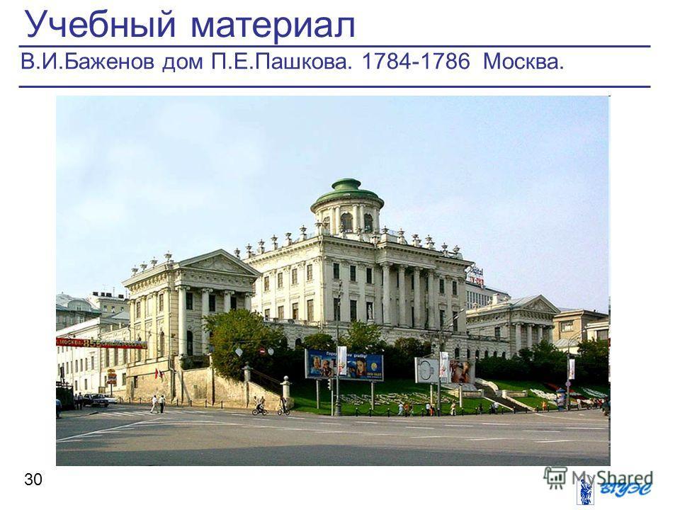 Учебный материал 30 В.И.Баженов дом П.Е.Пашкова. 1784-1786 Москва.