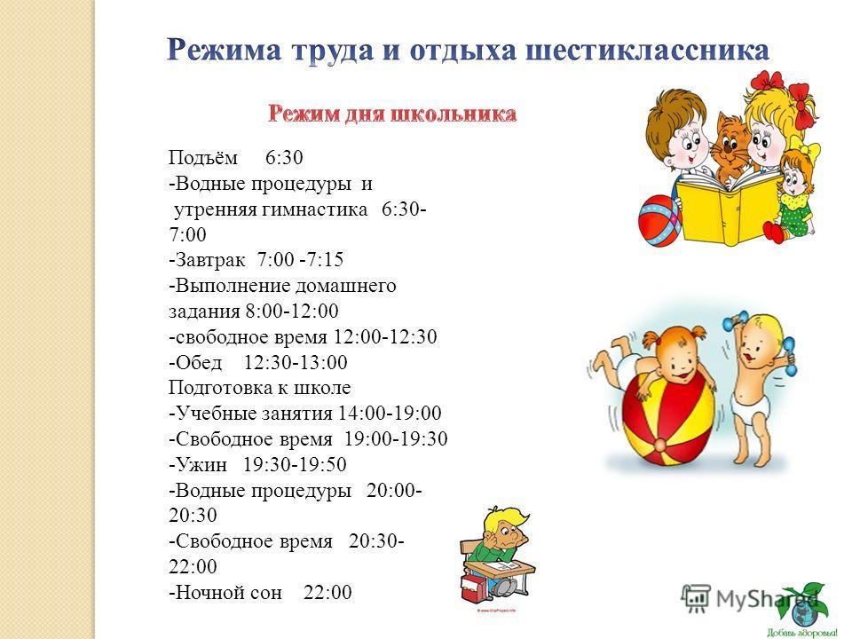 Подъём 6:30 -Водные процедуры и утренняя гимнастика 6:30- 7:00 -Завтрак 7:00 -7:15 -Выполнение домашнего задания 8:00-12:00 -свободное время 12:00-12:30 -Обед 12:30-13:00 Подготовка к школе -Учебные занятия 14:00-19:00 -Свободное время 19:00-19:30 -У
