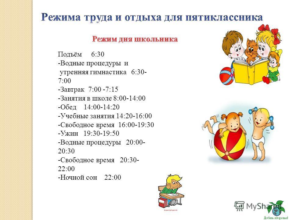 Подъём 6:30 -Водные процедуры и утренняя гимнастика 6:30- 7:00 -Завтрак 7:00 -7:15 -Занятия в школе 8:00-14:00 -Обед 14:00-14:20 -Учебные занятия 14:20-16:00 -Свободное время 16:00-19:30 -Ужин 19:30-19:50 -Водные процедуры 20:00- 20:30 -Свободное вре