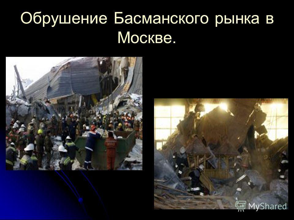 Обрушение Басманского рынка в Москве.