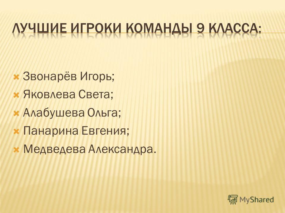 Звонарёв Игорь; Яковлева Света; Алабушева Ольга; Панарина Евгения; Медведева Александра.