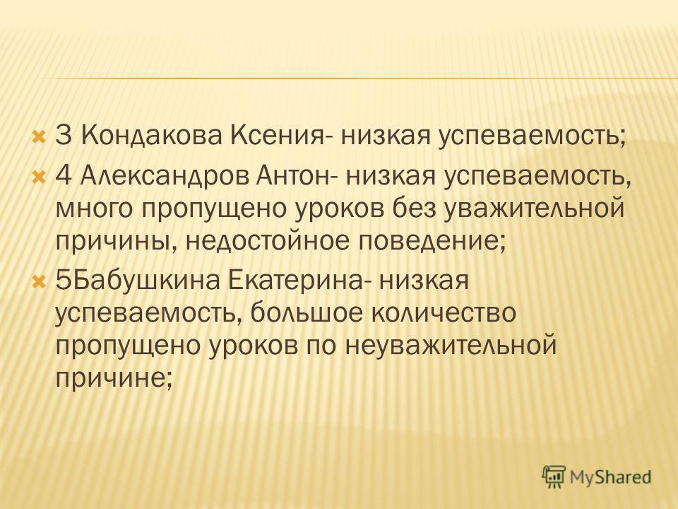 3 Кондакова Ксения- низкая успеваемость; 4 Александров Антон- низкая успеваемость, много пропущено уроков без уважительной причины, недостойное поведение; 5Бабушкина Екатерина- низкая успеваемость, большое количество пропущено уроков по неуважительно
