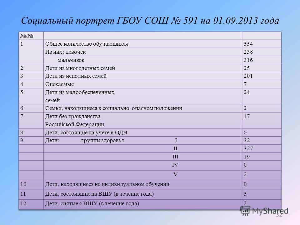 Социальный портрет ГБОУ СОШ 591 на 01.09.2013 года 32