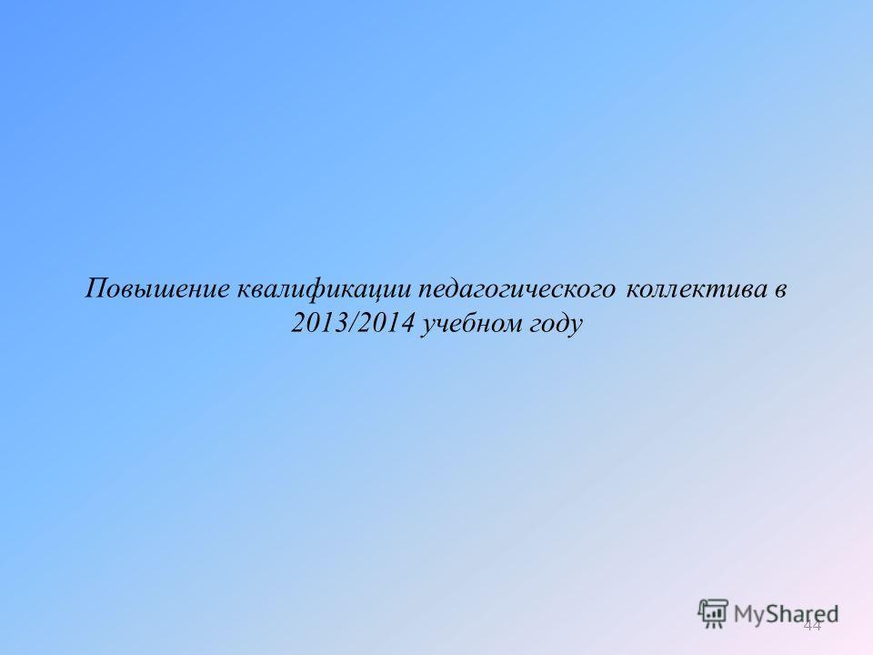 Повышение квалификации педагогического коллектива в 2013/2014 учебном году 44