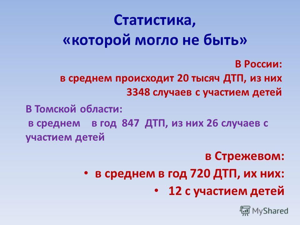 Статистика, «которой могло не быть» в Стрежевом: в среднем в год 720 ДТП, их них: 12 с участием детей В России: в среднем происходит 20 тысяч ДТП, из них 3348 случаев с участием детей В Томской области: в среднем в год 847 ДТП, из них 26 случаев с уч