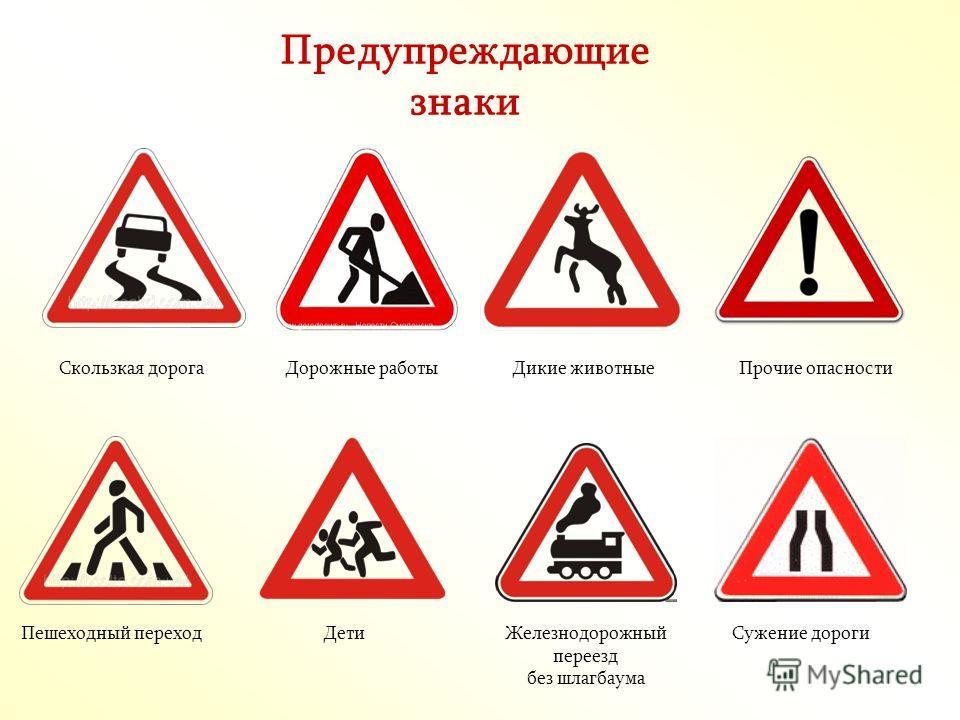 Дорожныезнаки Предписывающие знаки Информацион но- указательные знаки Знаки сервиса Предупреждающие знаки Запрещающие знаки