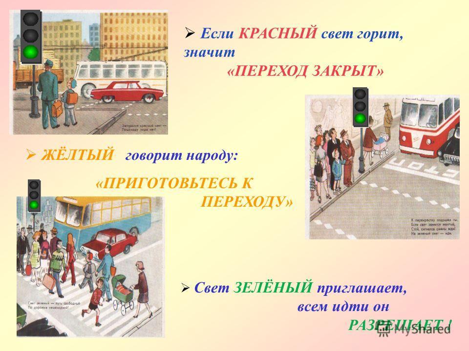 У любого перекрёстка нас встречает СВЕТОФОР и заводит очень просто c пешеходом РАЗГОВОР