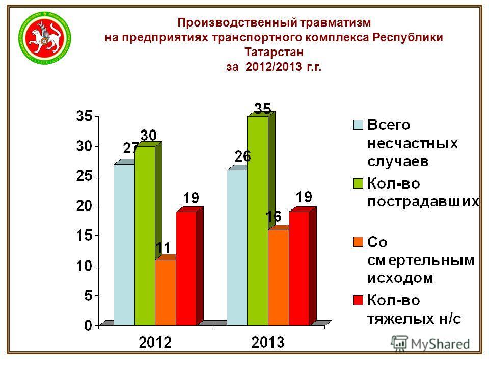Производственный травматизм на предприятиях транспортного комплекса Республики Татарстан за 2012/2013 г.г.