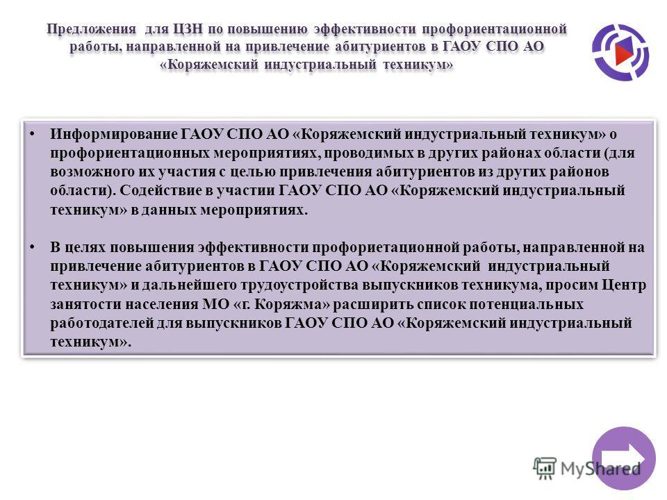 Информирование ГАОУ СПО АО «Коряжемский индустриальный техникум» о профориентационных мероприятиях, проводимых в других районах области (для возможного их участия с целью привлечения абитуриентов из других районов области). Содействие в участии ГАОУ