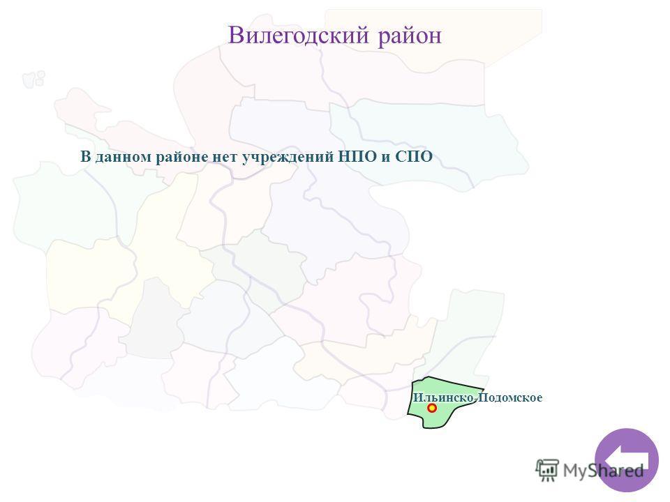 Вилегодский район В данном районе нет учреждений НПО и СПО
