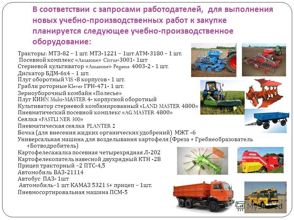 В соответствии с запросами работодателей, для выполнения новых учебно - производственных работ к закупке планируется следующее учебно - производственное оборудование : Тракторы : МТЗ -82 – 1 шт. МТЗ -1221 – 1 шт АТМ -3180 – 1 шт. Посевной комплекс «A
