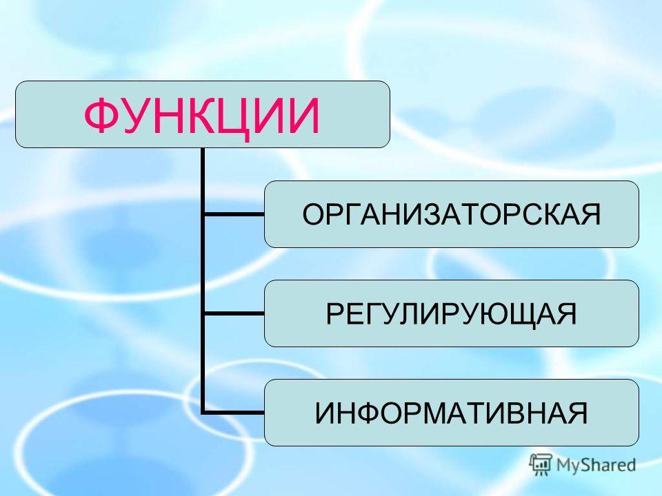 ФУНКЦИИ ОРГАНИЗАТОРСКАЯ РЕГУЛИРУЮЩАЯ ИНФОРМАТИВНАЯ