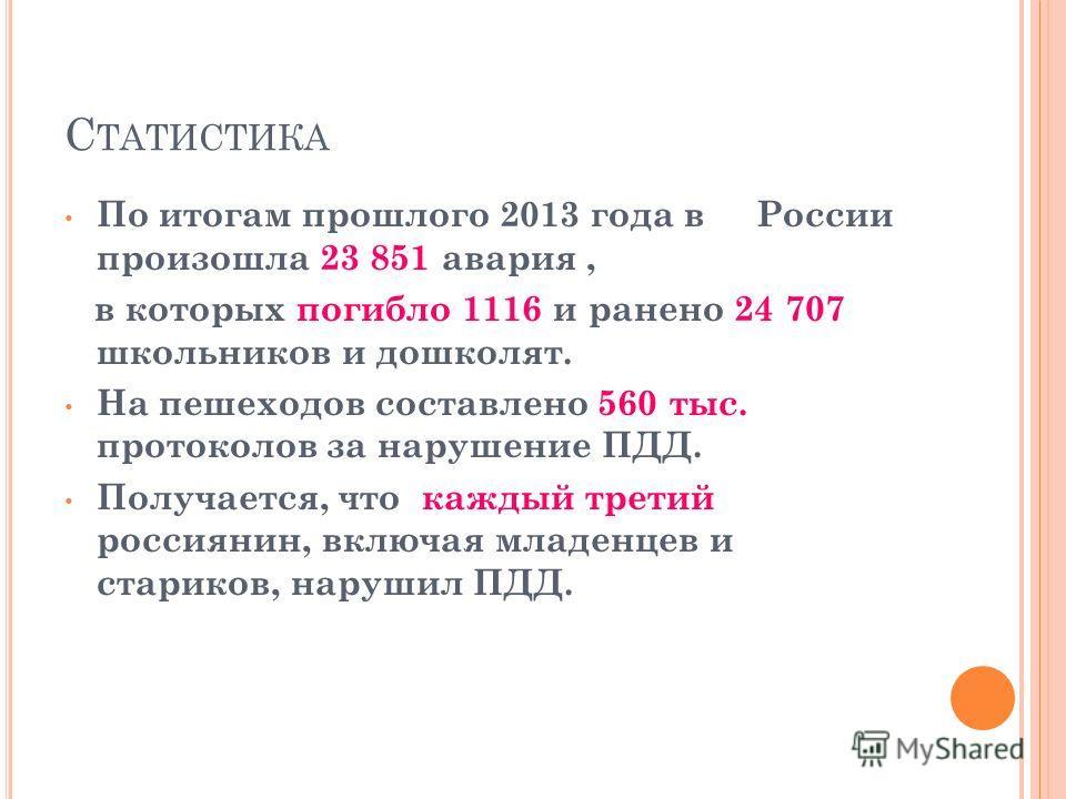С ТАТИСТИКА По итогам прошлого 2013 года в России произошла 23 851 авария, в которых погибло 1116 и ранено 24 707 школьников и дошколят. На пешеходов составлено 560 тыс. протоколов за нарушение ПДД. Получается, что каждый третий россиянин, включая мл