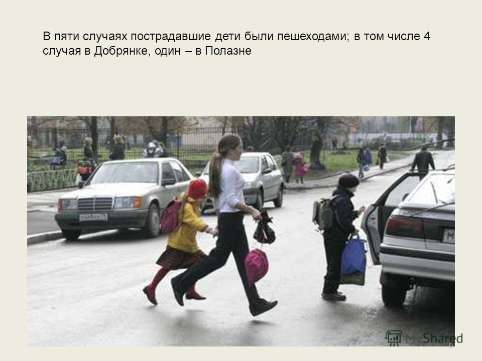 6 В пяти случаях пострадавшие дети были пешеходами; в том числе 4 случая в Добрянке, один – в Полазне