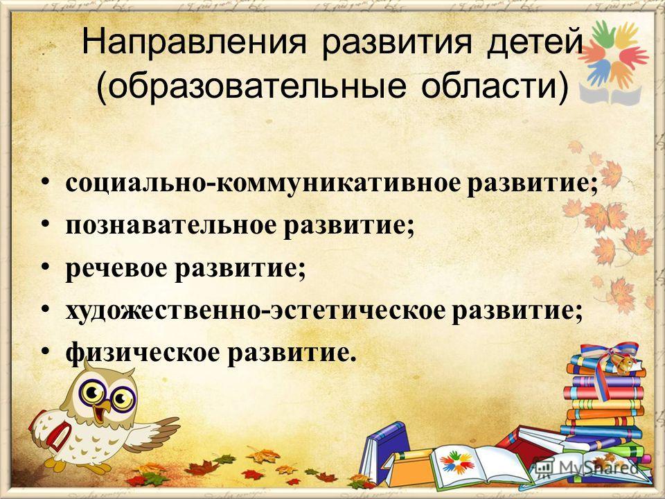 Направления развития детей (образовательные области) социально-коммуникативное развитие; познавательное развитие; речевое развитие; художественно-эстетическое развитие; физическое развитие.