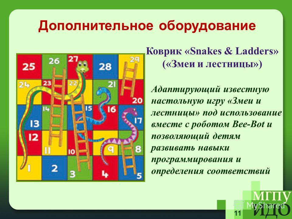 11 Адаптирующий известную настольную игру «Змеи и лестницы» под использование вместе с роботом Bee-Bot и позволяющий детям развивать навыки программирования и определения соответствий Дополнительное оборудование Коврик «Snakes & Ladders» («Змеи и лес