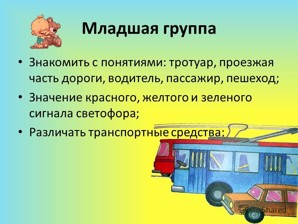 Младшая группа Знакомить с понятиями: тротуар, проезжая часть дороги, водитель, пассажир, пешеход; Значение красного, желтого и зеленого сигнала светофора; Различать транспортные средства;