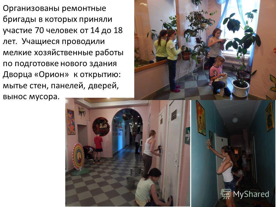 Организованы ремонтные бригады в которых приняли участие 70 человек от 14 до 18 лет. Учащиеся проводили мелкие хозяйственные работы по подготовке нового здания Дворца «Орион» к открытию: мытье стен, панелей, дверей, вынос мусора.