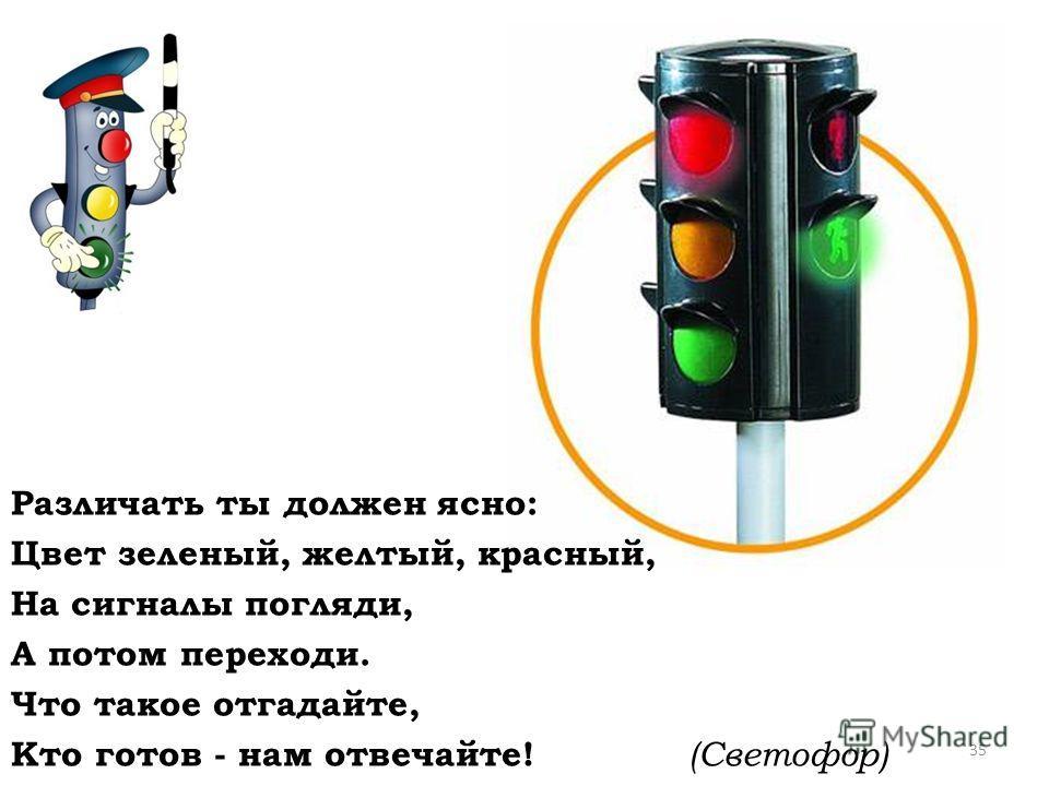 Различать ты должен ясно: Цвет зеленый, желтый, красный, На сигналы погляди, А потом переходи. Что такое отгадайте, Кто готов - нам отвечайте! (Светофор) 35