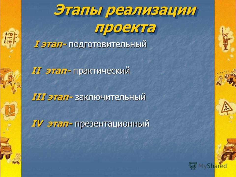 Этапы реализации проекта I этап- подготовительный I этап- подготовительный II этап- практический II этап- практический III этап- заключительный III этап- заключительный IV этап- презентационный IV этап- презентационный
