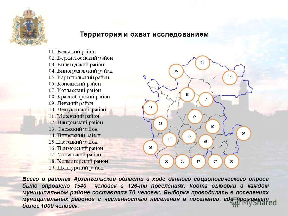 Территория и охват исследованием Всего в районах Архангельской области в ходе данного социологического опроса было опрошено 1540 человек в 126-ти поселениях. Квота выборки в каждом муниципальном районе составляла 70 человек. Выборка проводилась в пос