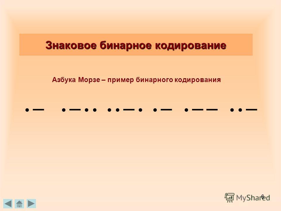 6 Азбука Морзе – пример бинарного кодирования Знаковое бинарное кодирование – – – – – – –