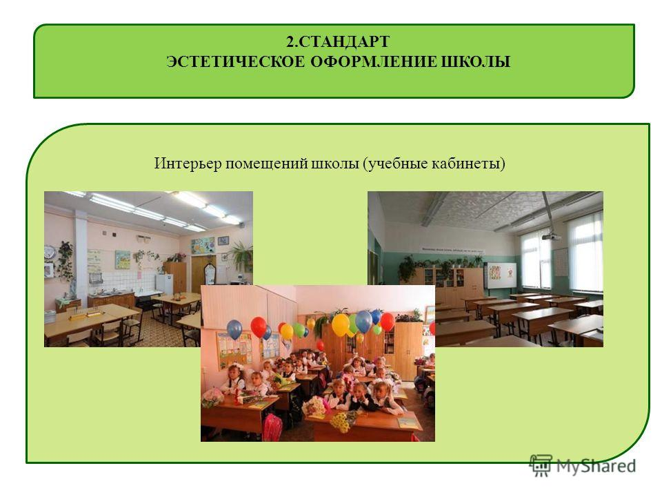 Интерьер помещений школы (учебные кабинеты) 2. СТАНДАРТ ЭСТЕТИЧЕСКОЕ ОФОРМЛЕНИЕ ШКОЛЫ