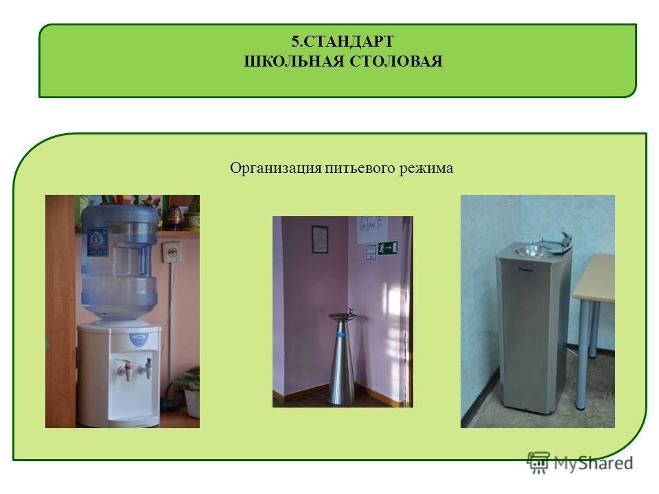 Организация питьевого режима 5. СТАНДАРТ ШКОЛЬНАЯ СТОЛОВАЯ