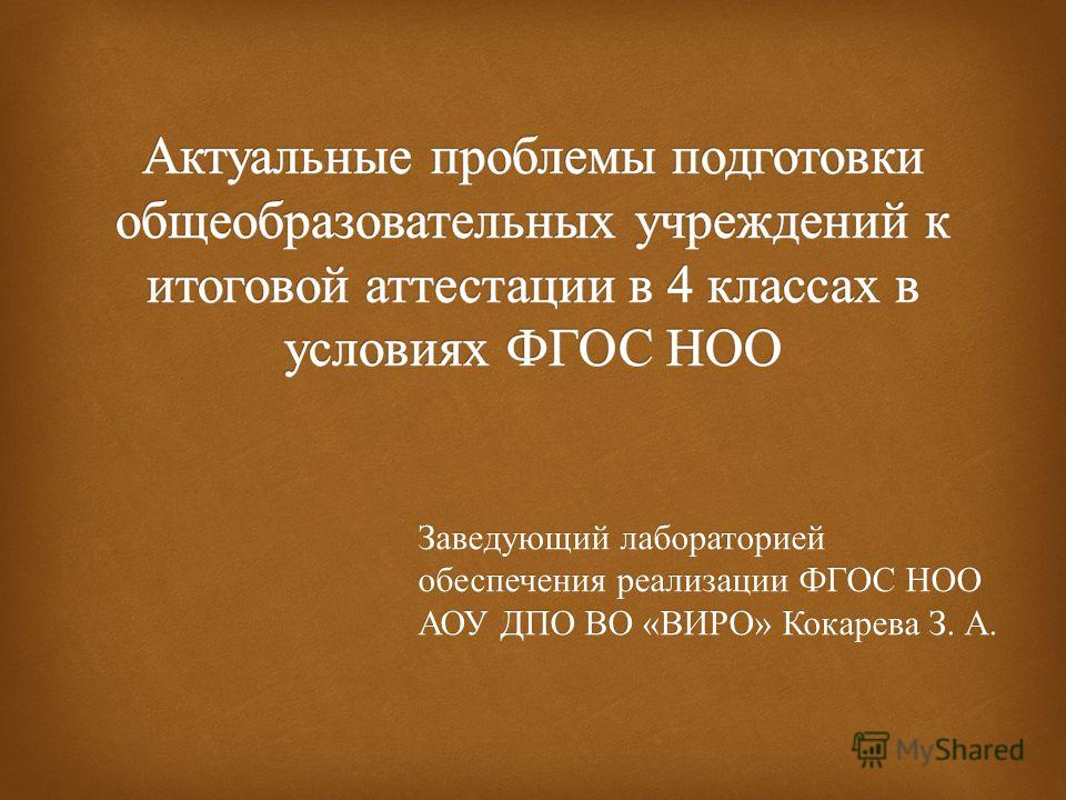 Заведующий лабораторией обеспечения реализации ФГОС НОО АОУ ДПО ВО « ВИРО » Кокарева З. А.