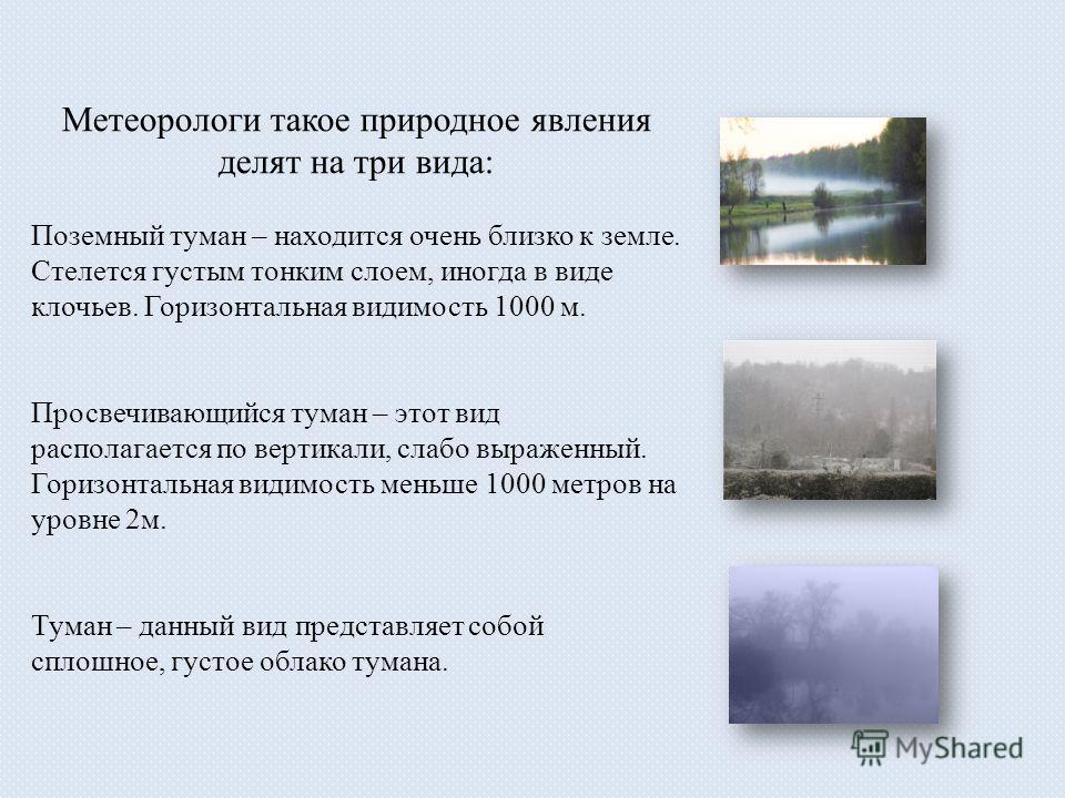 Метеорологи такое природное явления делят на три вида: Поземный туман – находится очень близко к земле. Стелется густым тонким слоем, иногда в виде клочьев. Горизонтальная видимость 1000 м. Просвечивающийся туман – этот вид располагается по вертикали