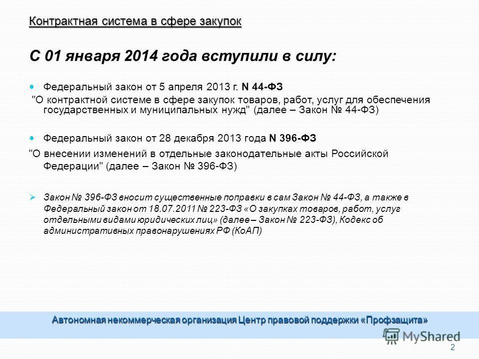 Контрактная система в сфере закупок С 01 января 2014 года вступили в силу: Федеральный закон от 5 апреля 2013 г. N 44-ФЗ