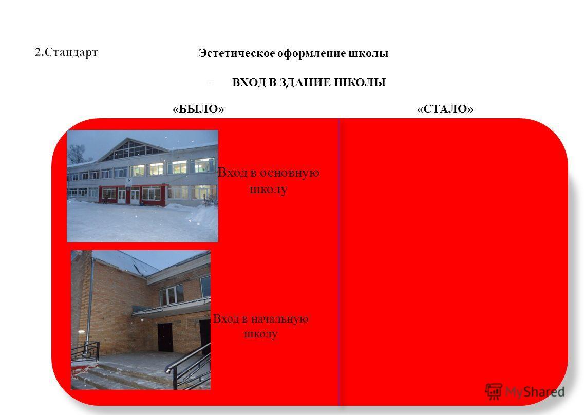 ВХОД В ЗДАНИЕ ШКОЛЫ Эстетическое оформление школы Вход в основную школу Вход в начальную школу «БЫЛО»«СТАЛО»