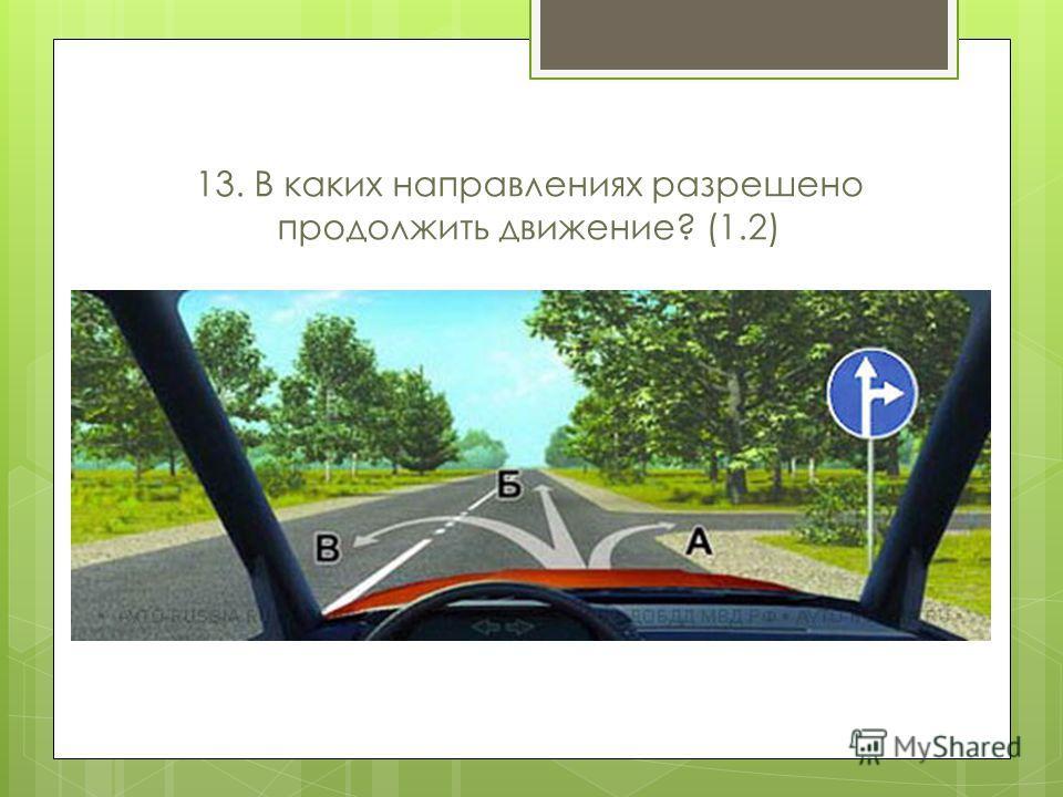 13. В каких направлениях разрешено продолжить движение? (1.2)