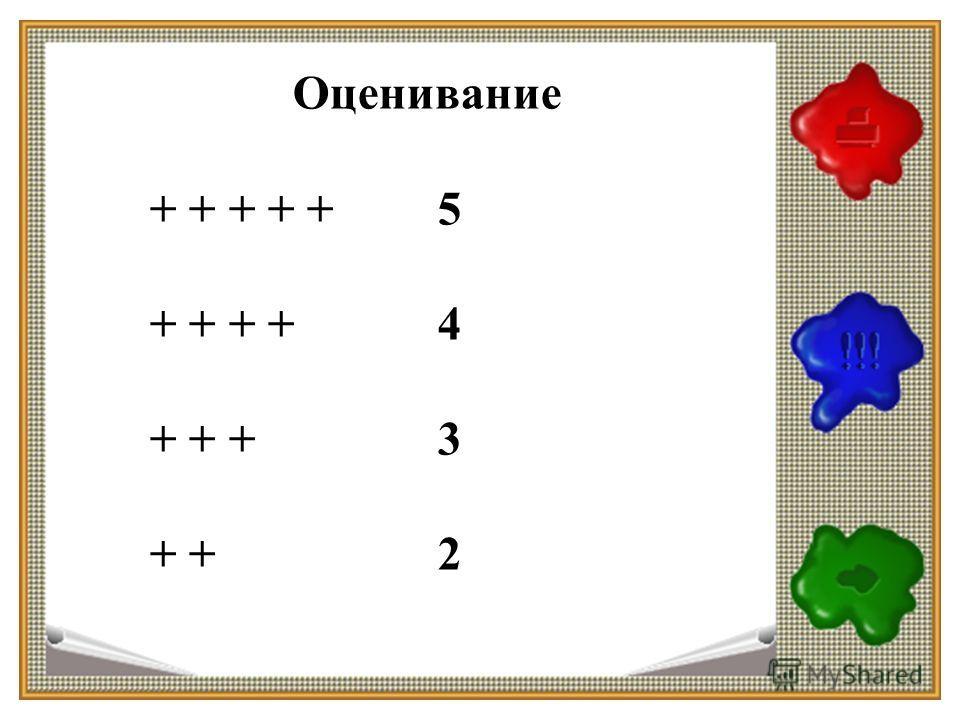 Оценивание + + + + +5 + + + + 4 + + + 3 + +2
